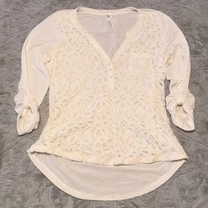 Lace Panel Roll Tab Sleeve Blouse